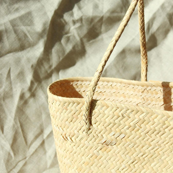 Borneo Serena Straw Tote Bag with Pumpkin Orange Pom-poms Brunna Co - ourCommonplace