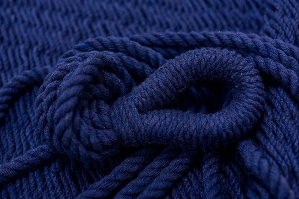 Navy Blue Cotton Hammock (Wooden Bar) - ourCommonplace