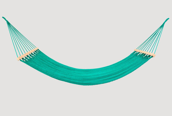 Teal Green Cotton Hammock (Wooden Bar) - ourCommonplace
