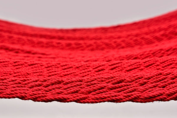 Classic Red Cotton Hammock (Wooden Bar) - ourCommonplace