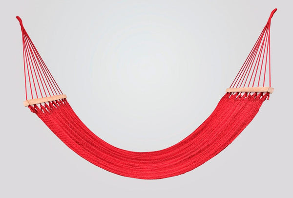 Classic Red Cotton Hammock (Wooden Bar)
