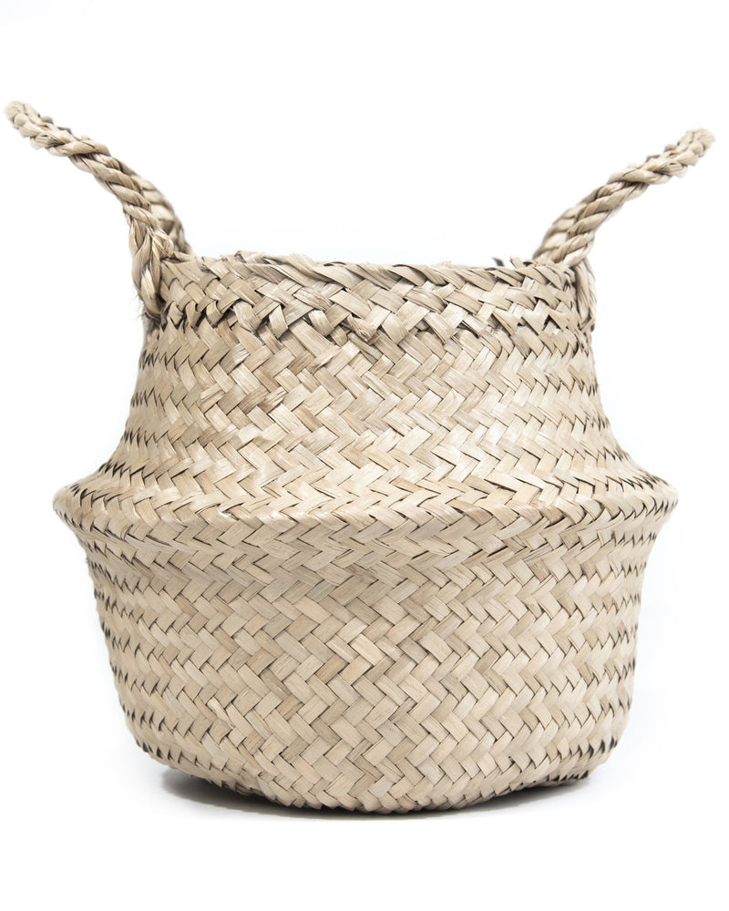 Small Handwoven Seagrass Tabletop Belly Basket Hathorway - ourCommonplace