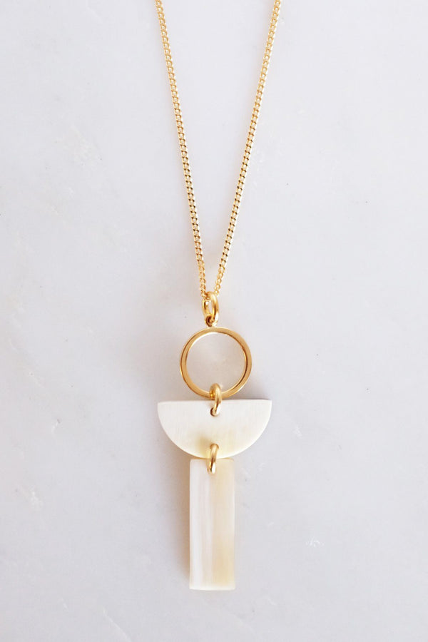 Con Dao II Geo Buffalo Horn Pendant Necklace Hathorway - ourCommonplace