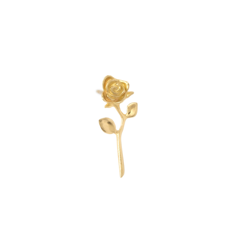 Devotion - Rose Earring 14k Yellow Gold (Single) - ourCommonplace