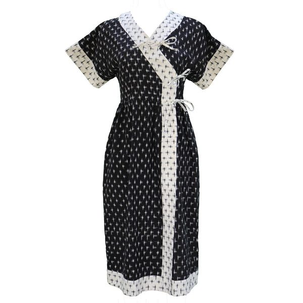 Sara Kimono Dress / Milky White & Black Contrast Cotton - ourCommonplace