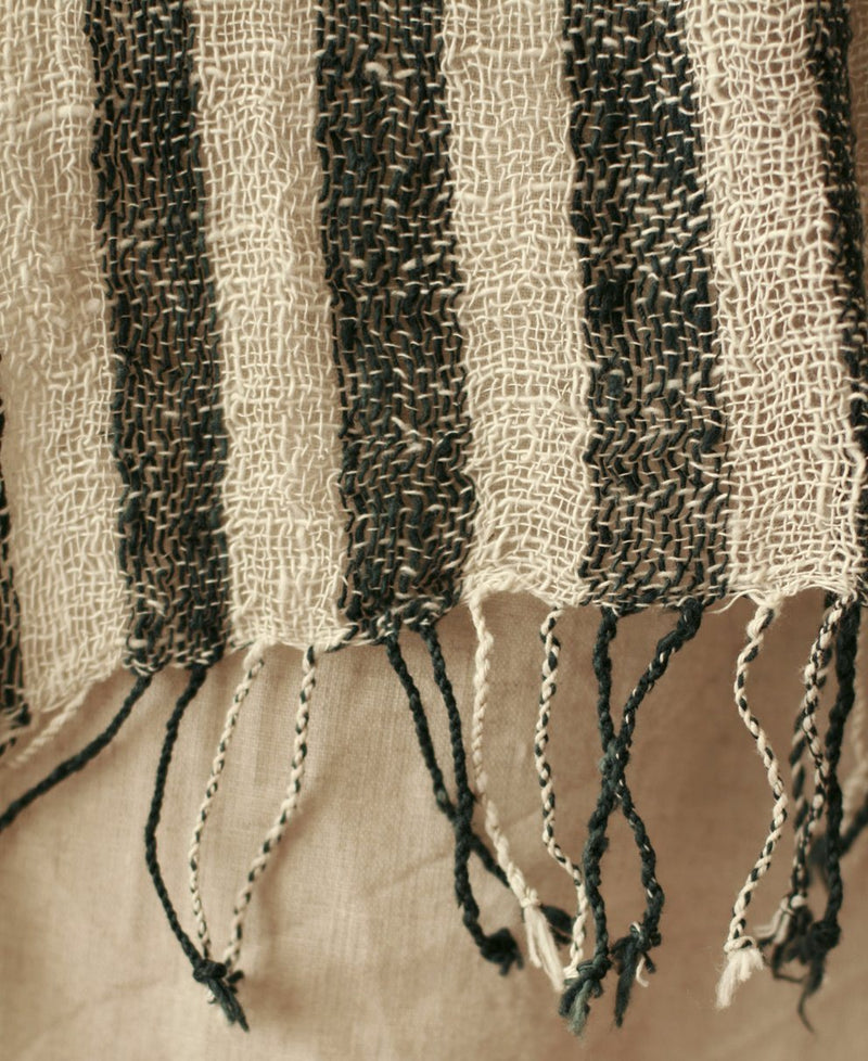 Fatima Hand-loomed Raw Cotton Scarf, in Black - ourCommonplace