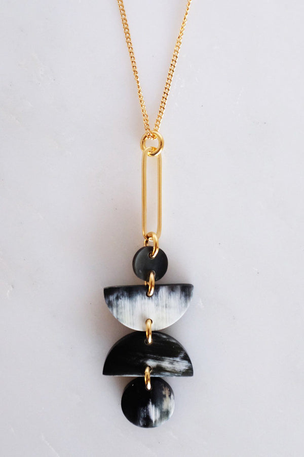 Ha Giang Geometric Buffalo Horn Long Pendant Necklace