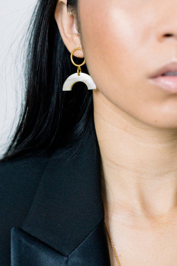 Hanh Tinh Geo Icon Buffalo Horn Post Earrings - ourCommonplace
