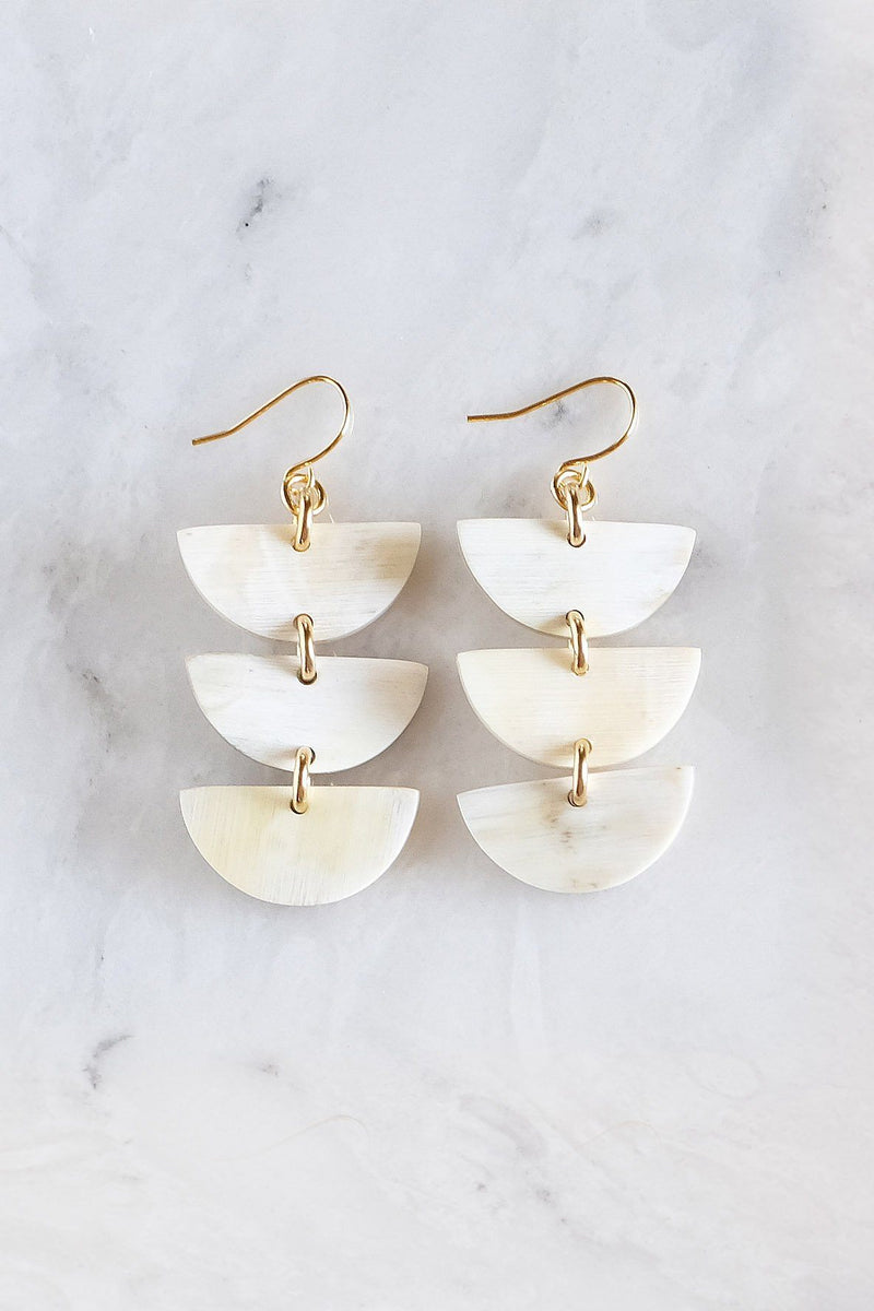 Hanoi 16K Gold Plated Triple Crescent Stacked Buffalo Horn Earrings Hathorway - ourCommonplace