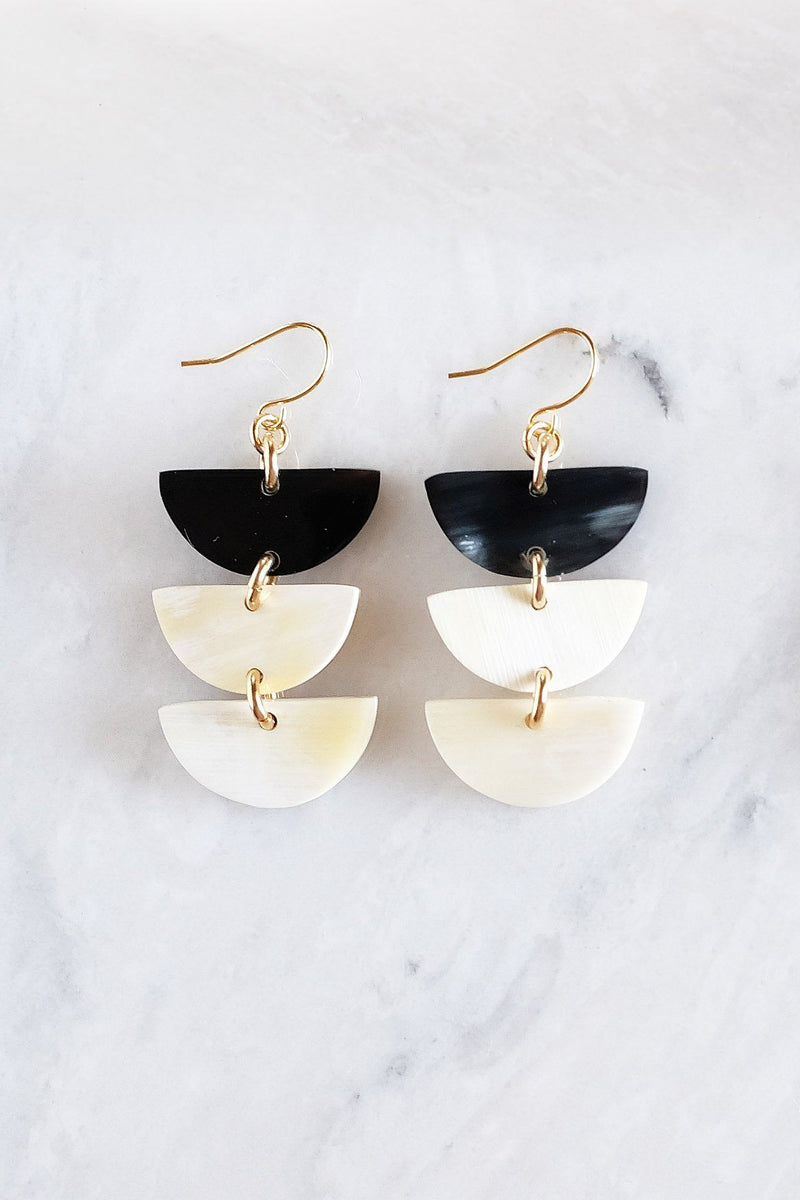 Hanoi 16K Gold Plated Triple Crescent Stacked Buffalo Horn Earrings - ourCommonplace