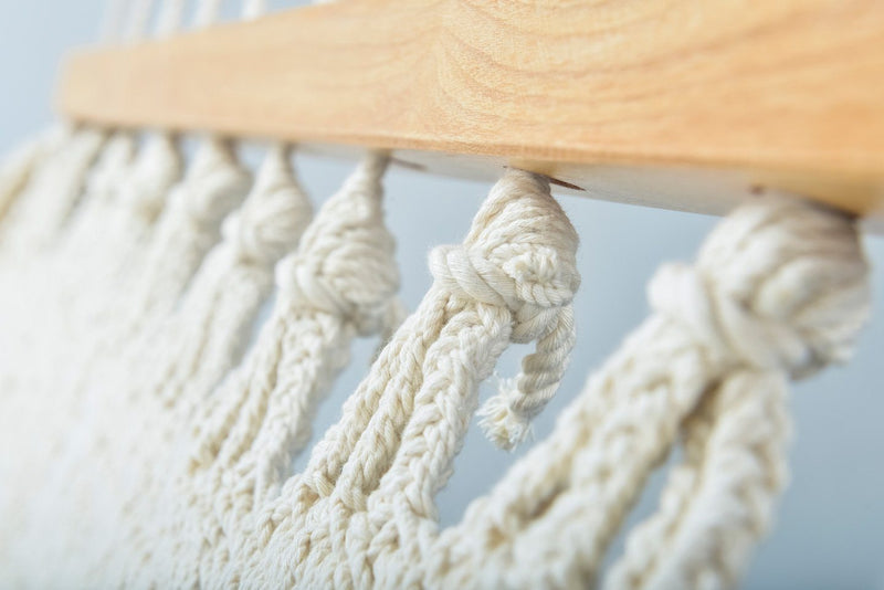 Deluxe Natural Cotton Hammock with Hue Inspired Tassels (Wooden Bar) Artissanos - ourCommonplace