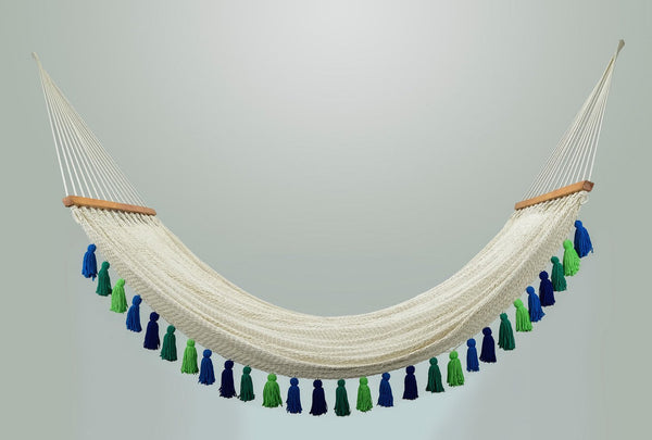 Deluxe Natural Cotton Hammock with Rainforest Inspired Tassels (Wooden Bar)