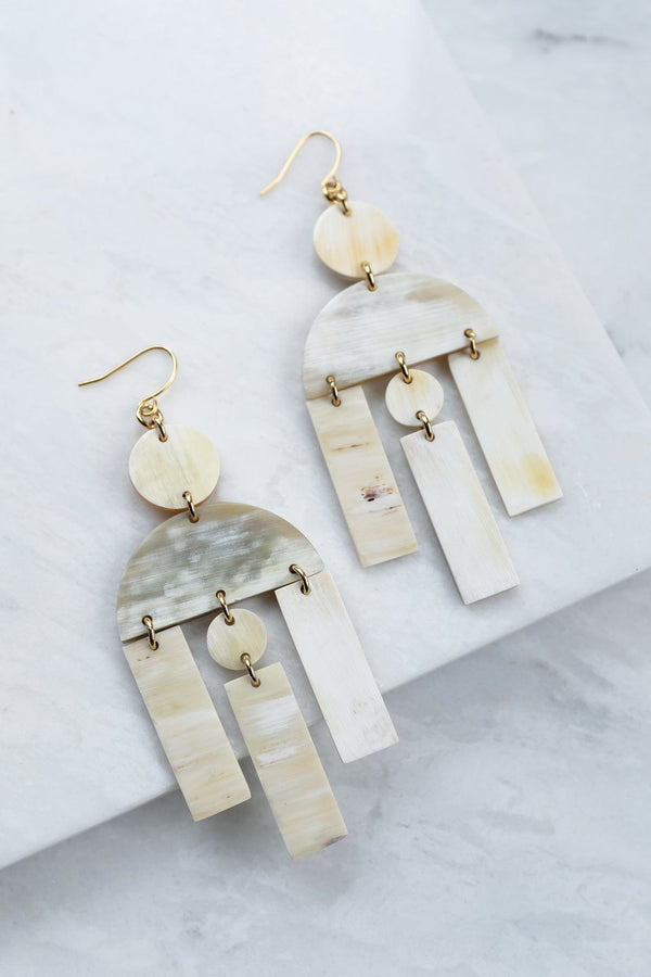 Hoang Hau 16K Gold-Plated Brass Buffalo Horn Geometric Statement Earrings Hathorway - ourCommonplace