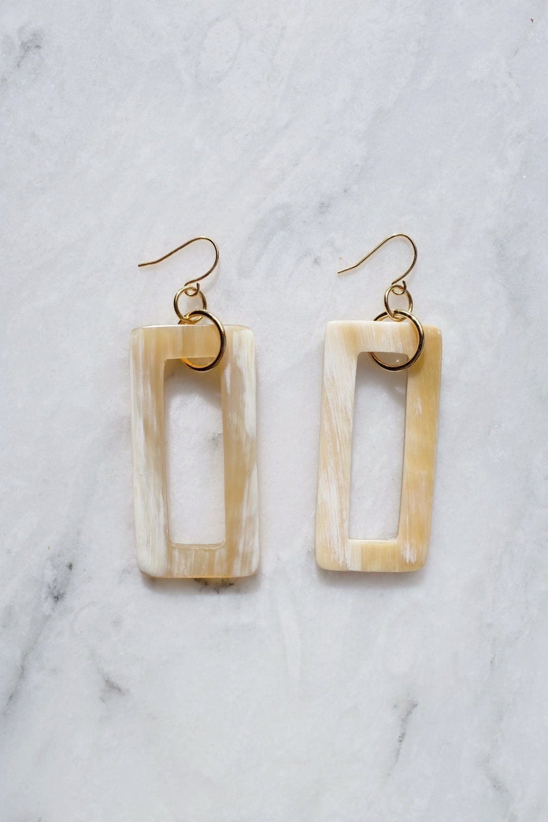 Hue 16K Gold Plated Milk-Colored Rectangular Genuine Horns Earrings - ourCommonplace