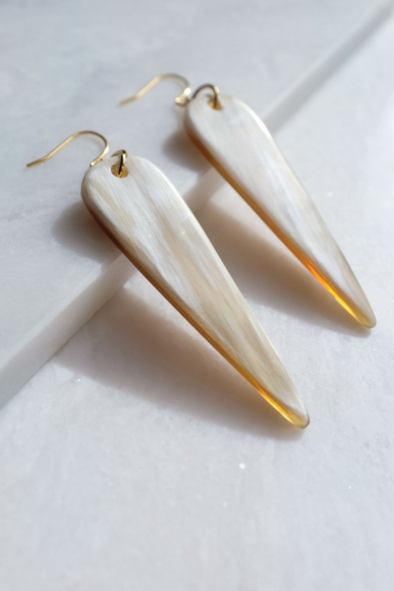Ha Long 16K Gold Plated Teardrop Buffalo Horn Earrings Hathorway - ourCommonplace