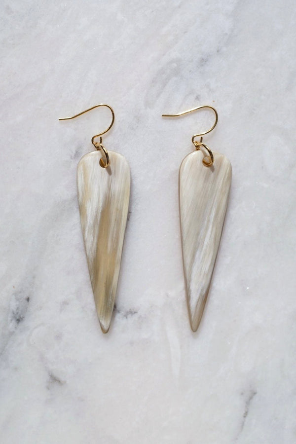 Ha Long 16K Gold Plated Teardrop Buffalo Horn Earrings