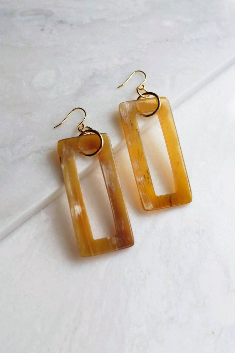 Hue 16K Gold Plated Rectangular Honey-Colored Buffalo Horn Earrings Hathorway - ourCommonplace