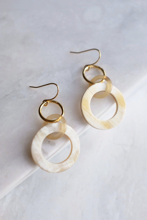Hoi An 16K Gold Plated Earrings with Circle-shaped Genuine Horns Earrings