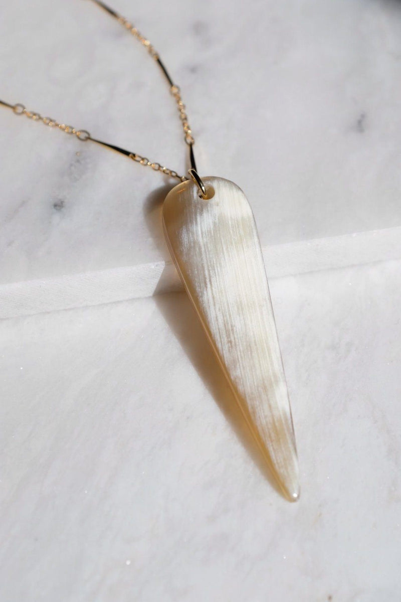 Ha Long 16K Gold Plated Teardrop Genuine Buffalo Horn Pendant Necklace Hathorway - ourCommonplace