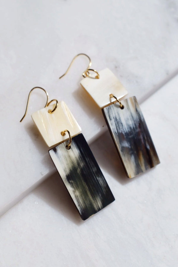 Da Lat 16K Gold Plated Rectangular Bar Buffalo Horn Earrings
