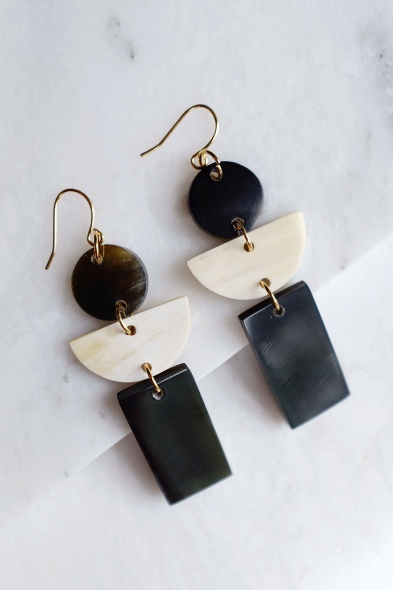 Con Dao 16K Gold Plated Geometric Buffalo Horn Earrings