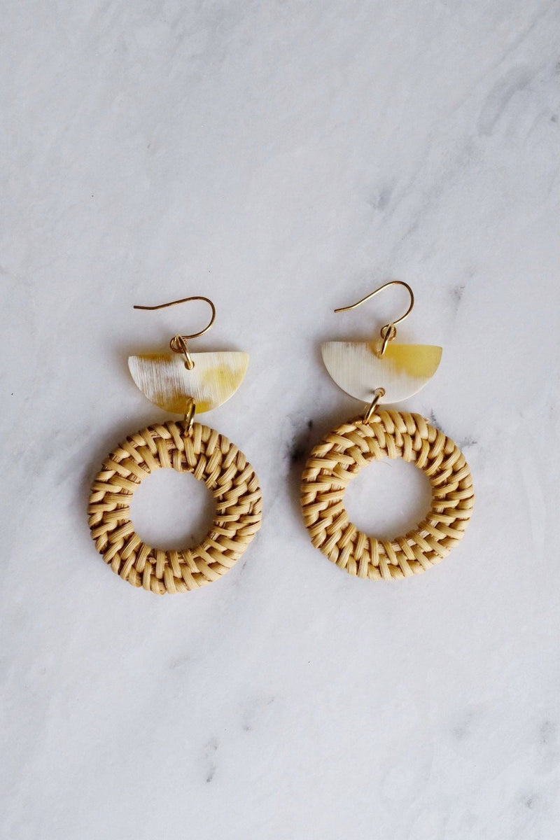 Ninh Binh 16K Gold Plated Rattan (Straw/Wicker) & Crescent Buffalo Horns Earrings Hathorway - ourCommonplace