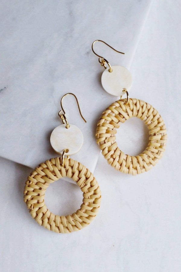 Nam Dinh 16K Gold Plated Natural Rattan (Straw/Wicker) & Buffalo Horns Earrings