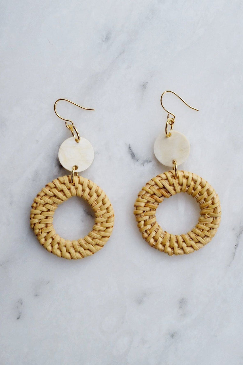 Nam Dinh 16K Gold Plated Natural Rattan (Straw/Wicker) & Buffalo Horns Earrings Hathorway - ourCommonplace