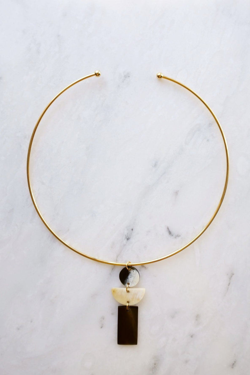 Con Dao 16K Gold Plated Geometric Buffalo Horn Choker Necklace