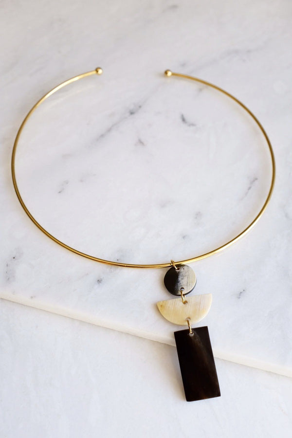 Con Dao 16K Gold Plated Geometric Buffalo Horn Choker Necklace Hathorway - ourCommonplace