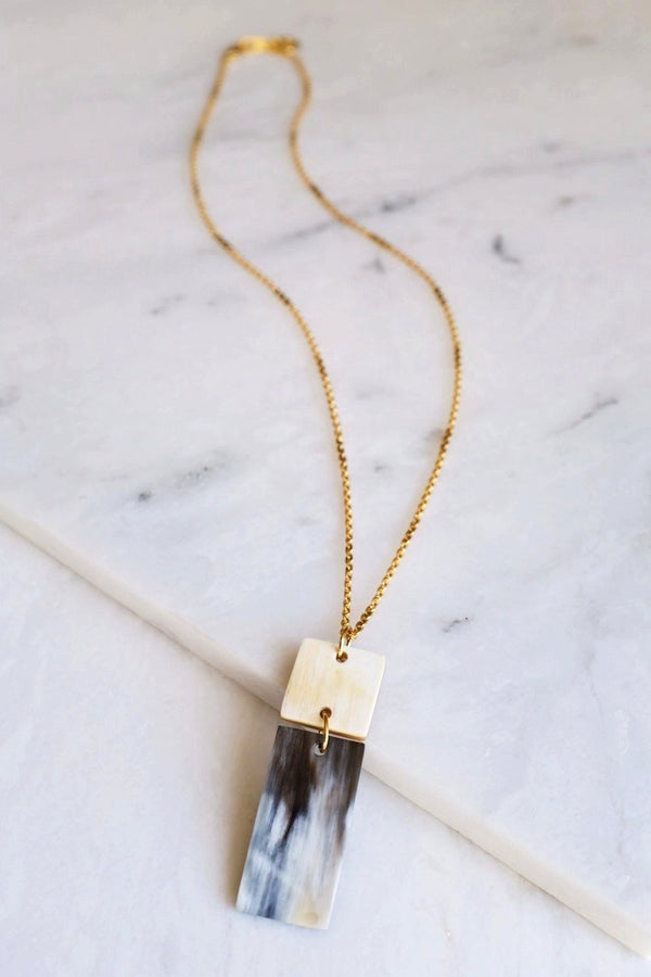 Da Lat 16K Gold Plated Rectangular Bar Buffalo Horn Pendant Necklace