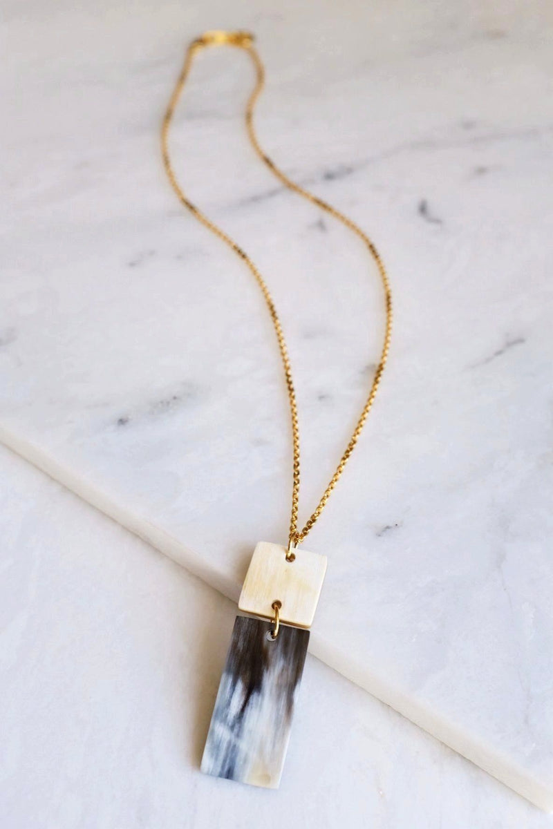 Da Lat 16K Gold Plated Rectangular Bar Buffalo Horn Pendant Necklace Hathorway - ourCommonplace