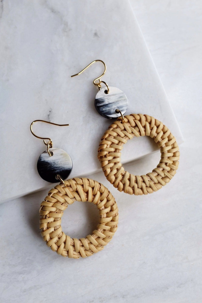 Nam Dinh 16K Gold Plated Natural Rattan (Straw/Wicker) & Black - White Flecks Buffalo Horns Earrings - ourCommonplace