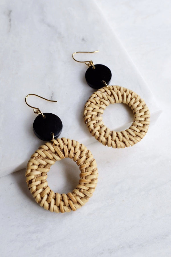 Nam Dinh 16K Gold Plated Natural Rattan (Straw/Wicker) & Solid Black Buffalo Horns Earrings