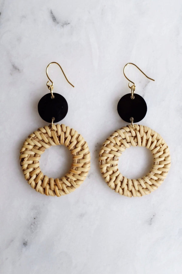 Nam Dinh 16K Gold Plated Natural Rattan (Straw/Wicker) & Solid Black Buffalo Horns Earrings Hathorway - ourCommonplace