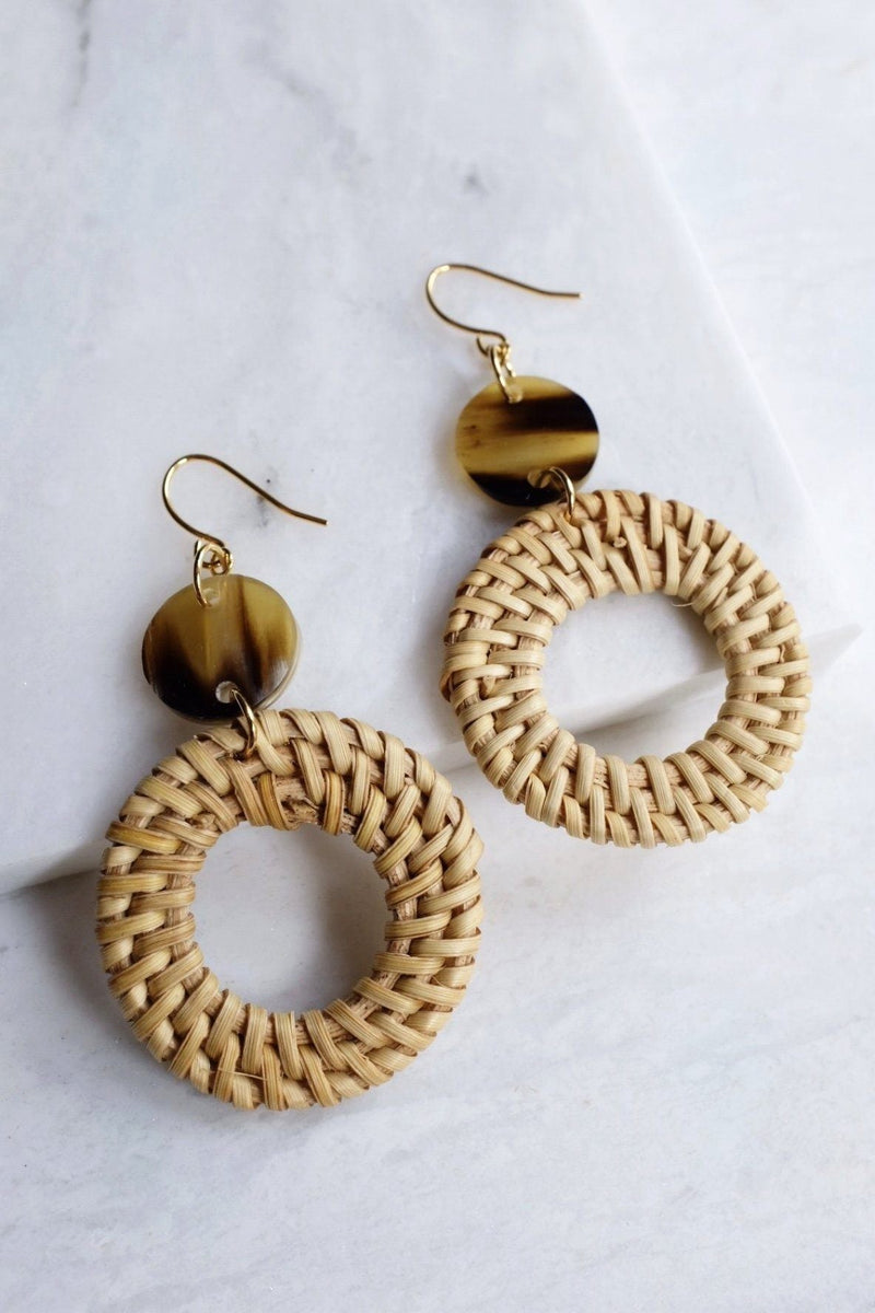 Nam Dinh 16K Gold Plated Natural Rattan (Straw/Wicker) & Brown Buffalo Horns Earrings Hathorway - ourCommonplace
