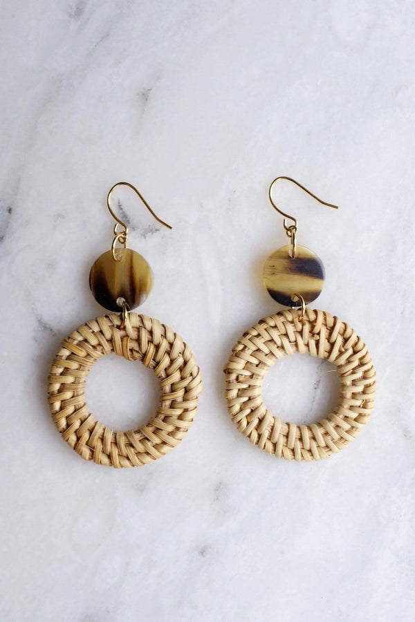 Nam Dinh 16K Gold Plated Natural Rattan (Straw/Wicker) & Brown Buffalo Horns Earrings