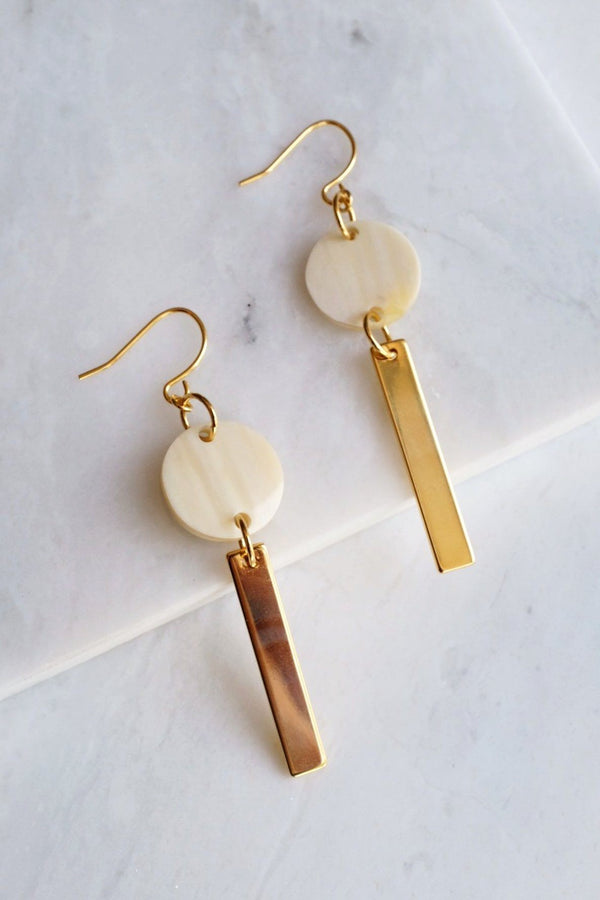 Thac Bac 16K Gold Plated Minimal White Buffalo Horn Bar Earrings Hathorway - ourCommonplace