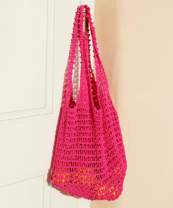 Karma Wooden Beads Crochet Bag in Dragon Fruit Pink Brunna Co - ourCommonplace