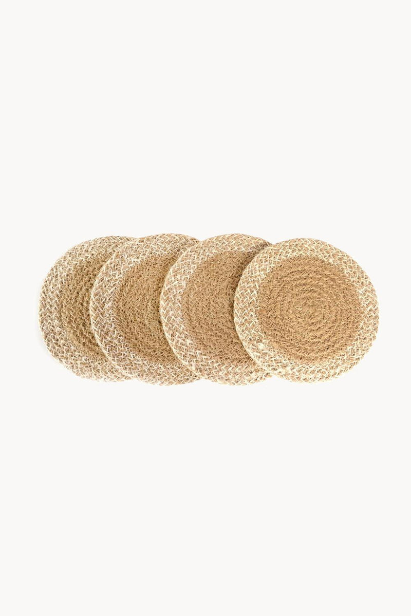 Agora Hand-Braided Jute Coasters - Natural (Set of 4) - ourCommonplace