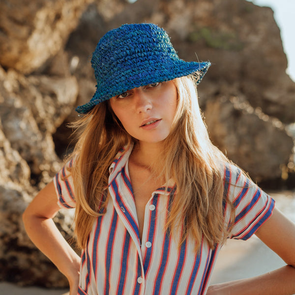 Kirana Raffia Boater Hat, in Tropical Blue Brunna Co - ourCommonplace