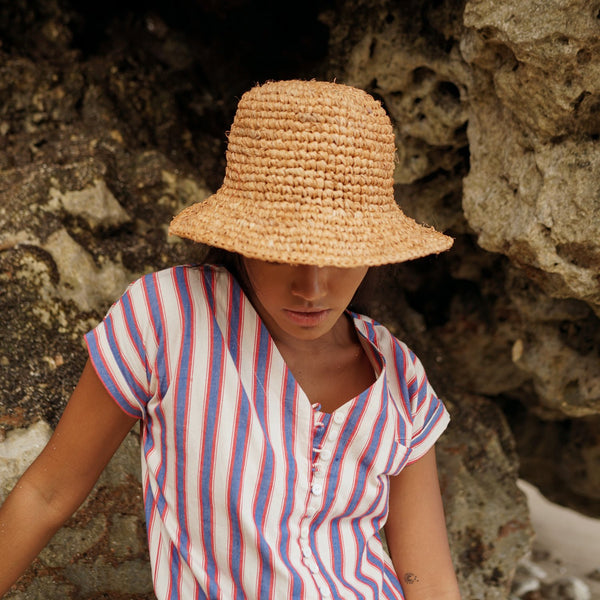 Kirana Raffia Boater Hat, in Camel Beige Brunna Co - ourCommonplace