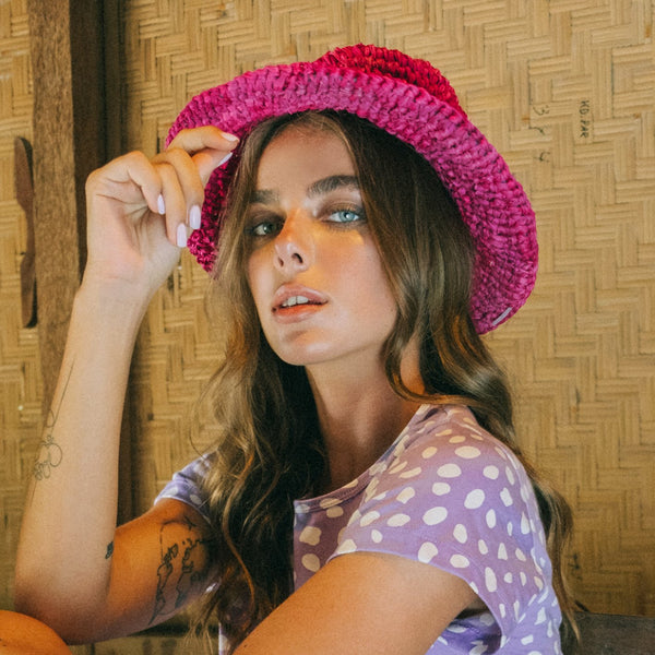 Kirana Raffia Boater Hat, in Fuschia Pink Brunna Co - ourCommonplace