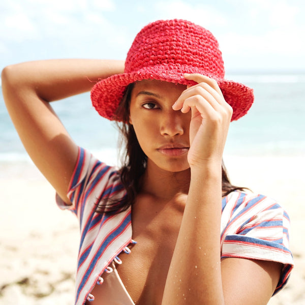 Kirana Raffia Boater Hat, in Red Brunna Co - ourCommonplace