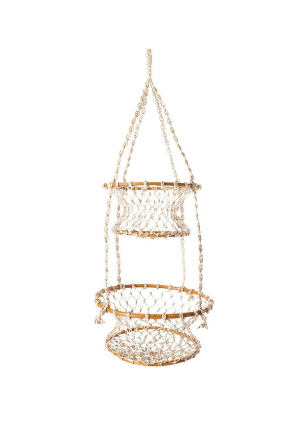 Jhuri Double Hanging Wood and Braided Jute Baskets - ourCommonplace