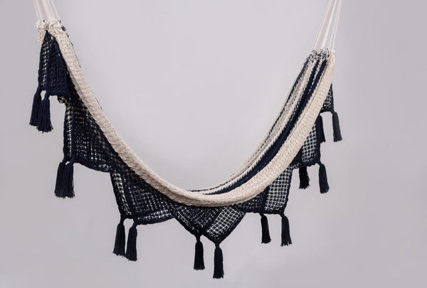 Colonial Navy Blue Cotton Hammock with Tassels - ourCommonplace