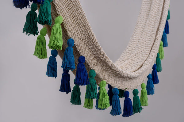 Deluxe Natural Cotton Hammock with Rainforest Inspired Tassels