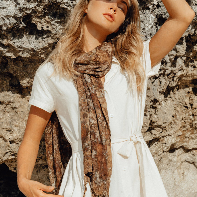 Marfa Handwoven Cotton Scarf Brunna Co - ourCommonplace