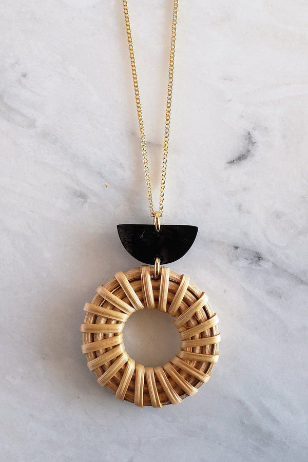 Ninh Binh Crescent Horn & Donut Rattan (Straw/Wicker) Pendant Necklace - ourCommonplace