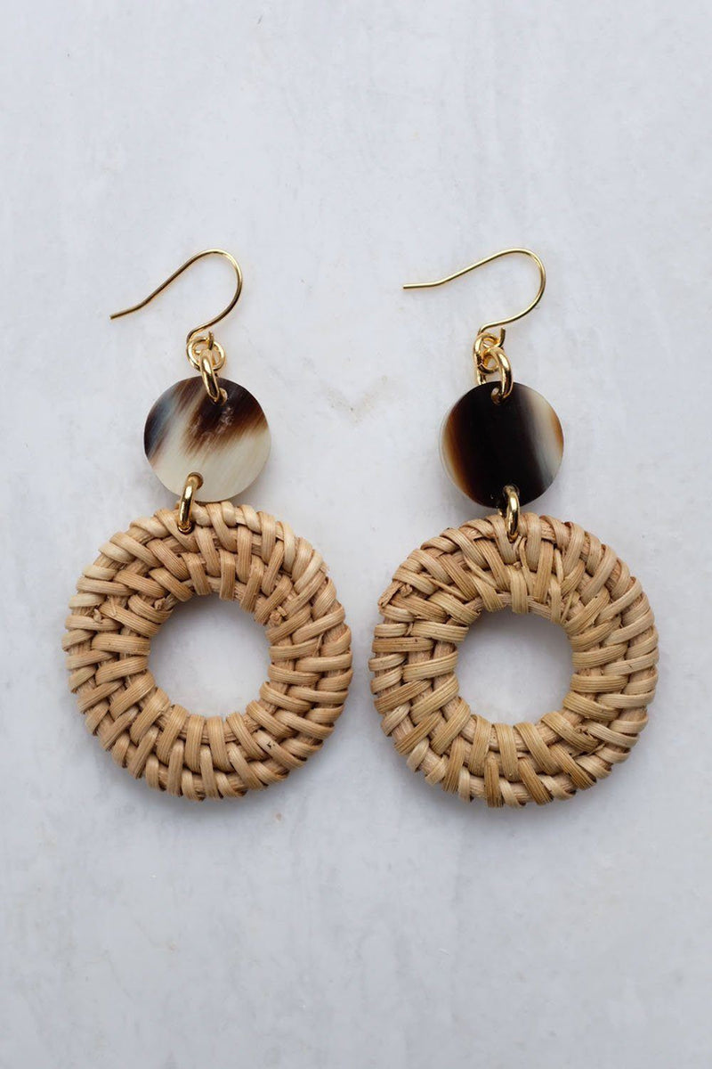 Nam Dinh 16K Gold Plated Natural Rattan (Straw/Wicker) & Mixed Colored Buffalo Horns Earrings Hathorway - ourCommonplace